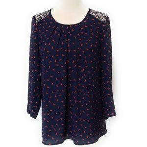 DANIEL RAINN Womens Bird Print Pleated Blouse S